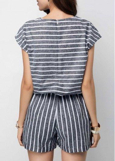 9a56934494a Zipper Back Stripe Print Grey Cap Sleeve Romper