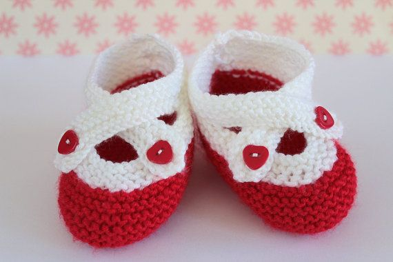 Baby Stocking Filler Red White Booties Baby Girl by Pinknitting