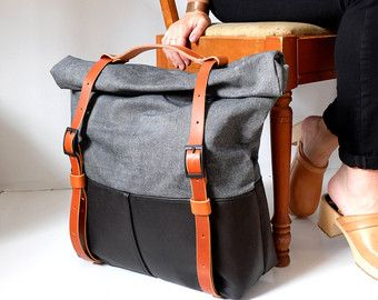 Leather and Waxed Canvas Weekender Bag The HotShot von AwlSnap