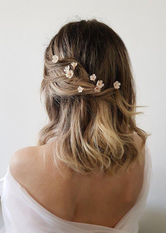 Whisper Floral Hair Pins Wedding Hair Flowers Floral Hair Etsy In 2020 Wedding Hair Pins Floral Hair Pins Long Hair Styles