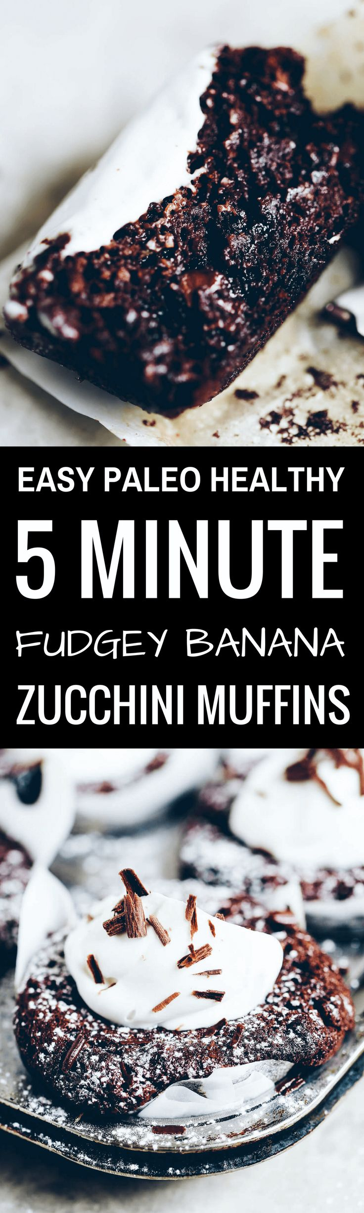 Fudgey flourless and paleo zucchini muffins. Made with ground hazelnuts (or almond flour), banana, and zucchini! Naturally gluten free, dairy free.
