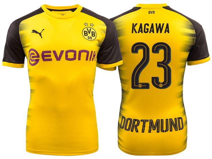 Men's Bundesliga Borussia Dortmund #23 Shinji Kagawa 17-18 Yellow Champions League Home Short Shirt