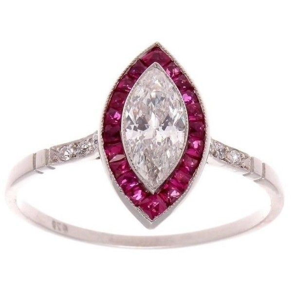 Pre-owned Platinum Ruby & 0.46ct Diamond Engagement Ring Size 6 ($2,650) ❤ liked on Polyvore featuring jewelry, rings, diamond jewelry, ruby ring, ruby diamond ring, platinum rings and engagement rings