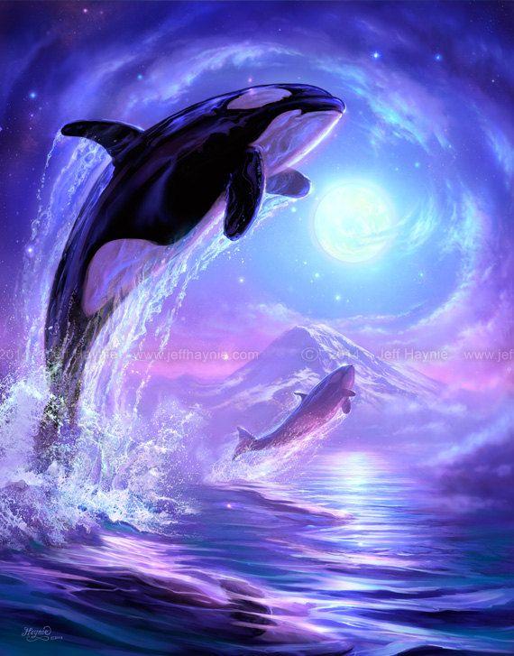 ORCA Art // Orca Art Print // Orca Painting // by JeffHaynieArt