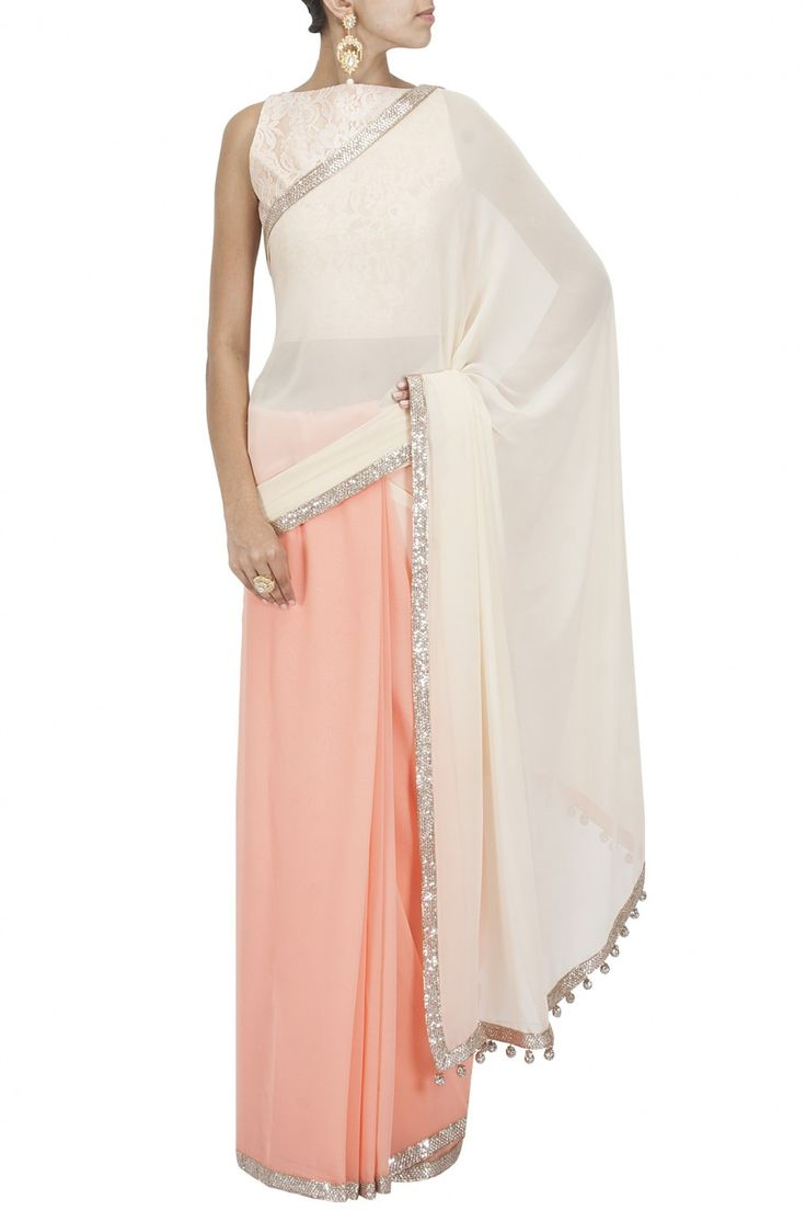 Peach and nude seqin embroidered border sari with chantilly blouse BY MANISH MALHOTRA Shop the designer now at: www.perniaspopups... #perniaspopupshop #manishmalhotra #newcollection #softhues #stunning #fashion #amazing #style #campaign #fabulous #musthave #summerwedding #happyshopping
