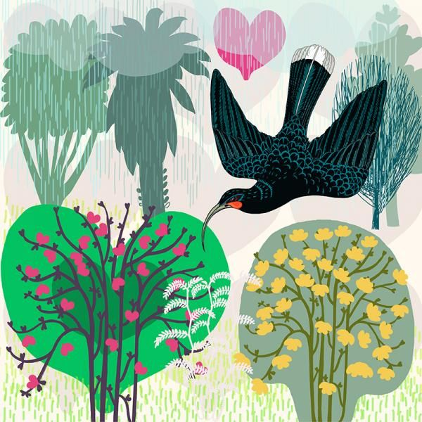 Huia Dream. Limited edition of 50.  Lightfast print on 300gsm fine art paper by Jane Galloway http://www.palmprints.co.nz/huia-dream-c-593.html
