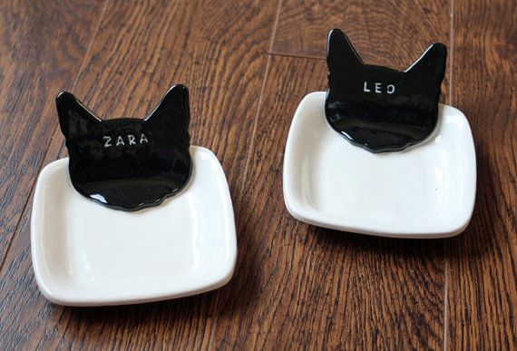 Set of 2  Personalized Kitty Cat Food Dishes  by sunshineceramics, $44.00
