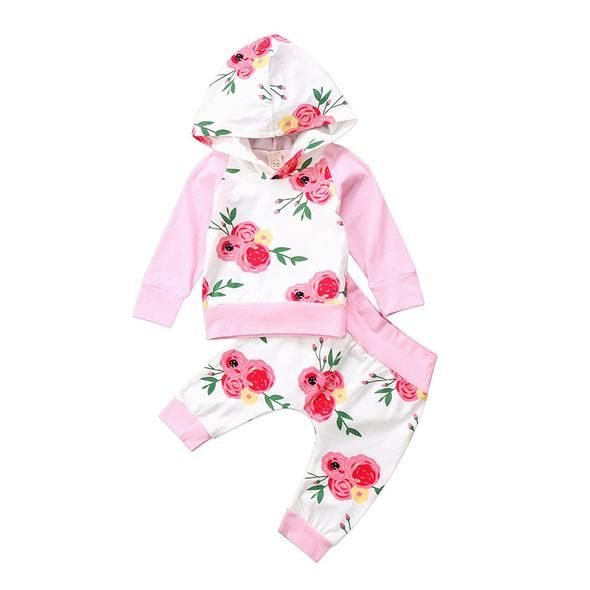 2Pcs Baby Girls Floral Long Sleeve Hooded Sweatshirt Tops Pant Tracksuit Outfits