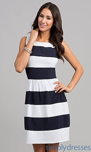 Short Sleeveless Striped Dress at SimplyDresses.com