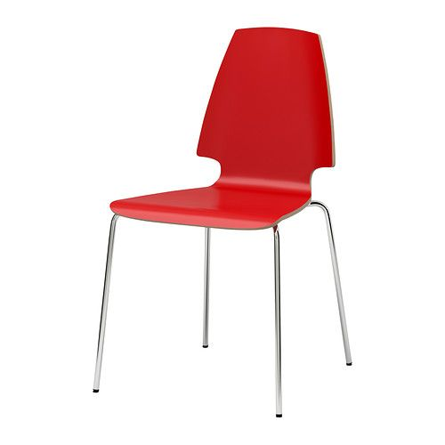 VILMAR Chair - red/chrome-plated - IKEA