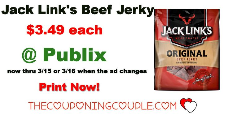 Jack Link's Beef Jerky Deal @ Publix thru 3/15 or 3/16. We have some great new coupons to go with the sale on Beef Jerky this week. Print Now and head on over to Publix to grab a couple packs!  Click the link below to get all of the details ► http://www.thecouponingcouple.com/jack-links-beef-jerky-deal-publix-thru-315-or-316/ #Coupons #Couponing #CouponCommunity  Visit us at http://www.thecouponingcouple.com for more great posts!