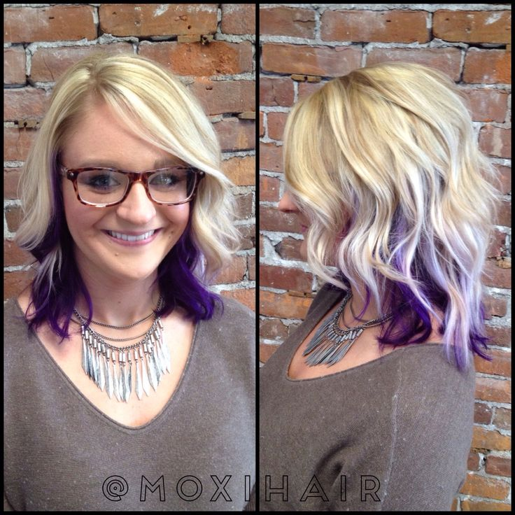Blonde highlights and purple peekaboo underneath with beach wave lob