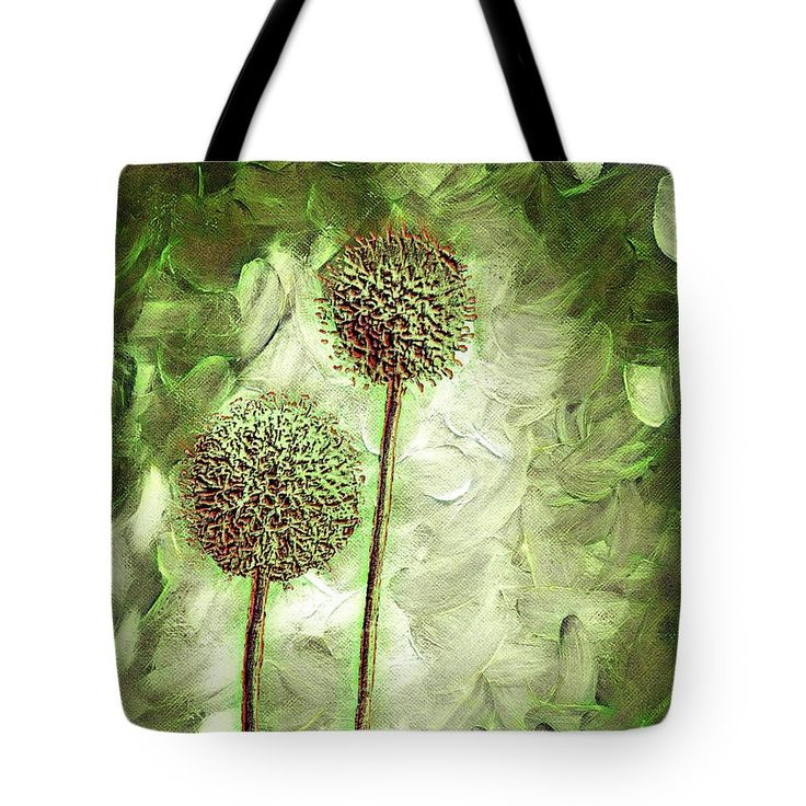 Globe Thistles Tote Bag by Leslie Montgomery.  The tote bag is machine washable, available in three different sizes, and includes a black strap for easy carrying on your shoulder.  All totes are available for worldwide shipping and include a money-back guarantee.