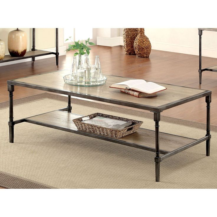 Furniture Of America Kadence Natural Toned Coffee Table   A Touch Of  Industrial Glamour Finds Its Way Into Your Home With This Furniture Of  America Kadence ...