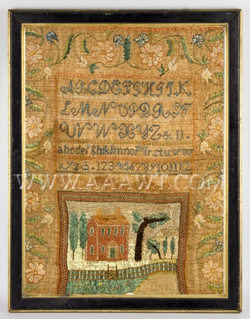 Antique Needlework, Embroidered Sampler by Betsy Bailey, age 11, entire view