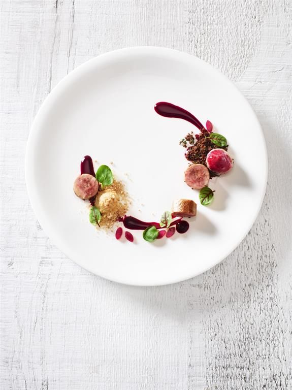 Quail Roulad with Beets and Smoked Apple by Cara Davis