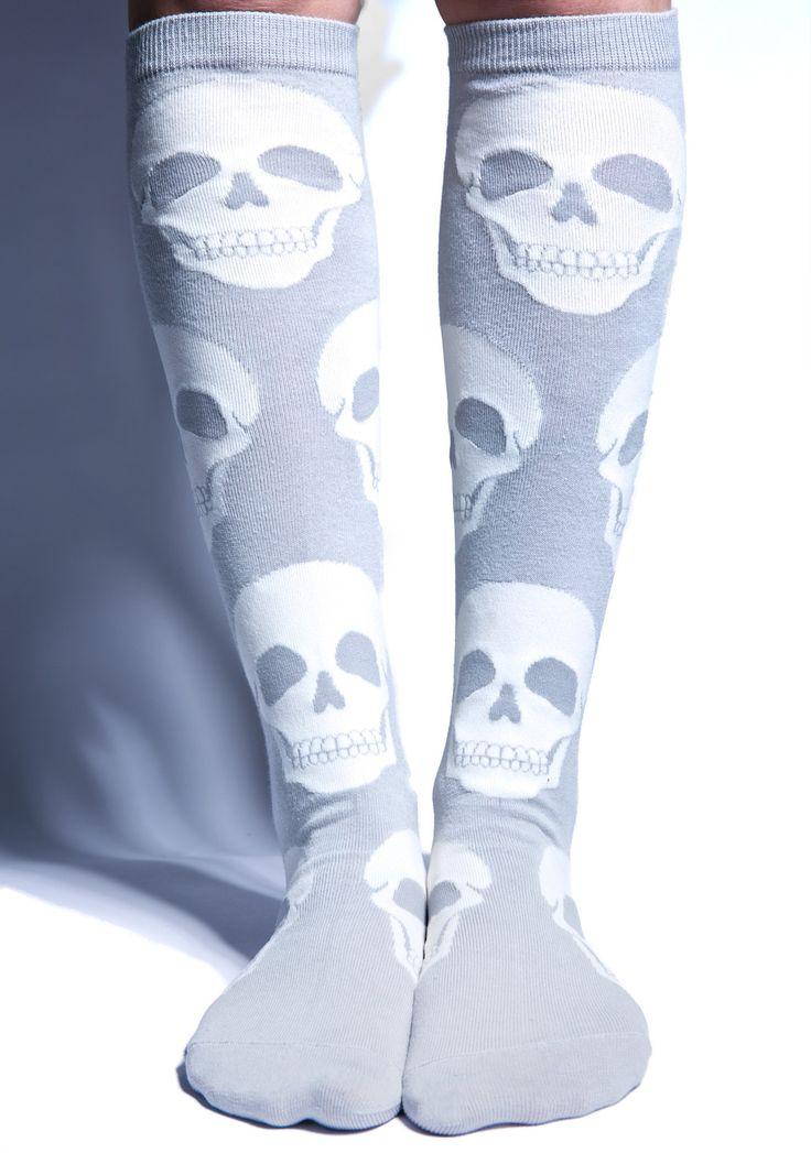 Loungefly Skull Knee High Socks