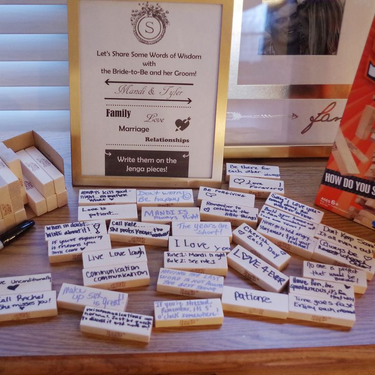 Wedding Gifts For Relatives: Have Guests Write Messages On Jenga Pieces. #wedding