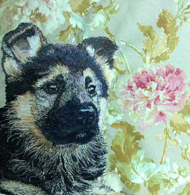 German Shepherd Puppy Freehand Machine Embroidery Portrait by Art Sea Craft Sea