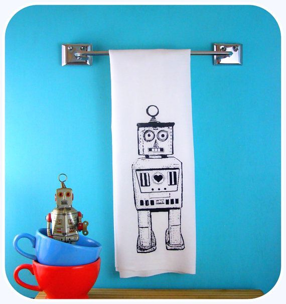 Robot Kitchen Towel Tea Towel CUTE screenprint retro kitchen Indie Housewares Kitchen Gifts