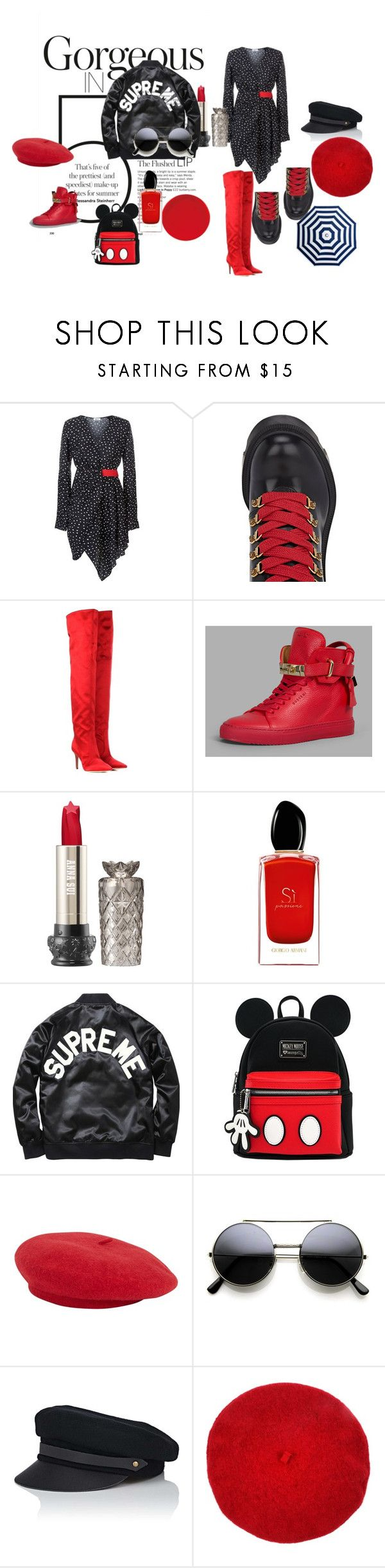 """Red Red Red"" by semamannatelier on Polyvore featuring La Mania, Gucci, Gianvito Rossi, BUSCEMI, Giorgio Armani and Lola"