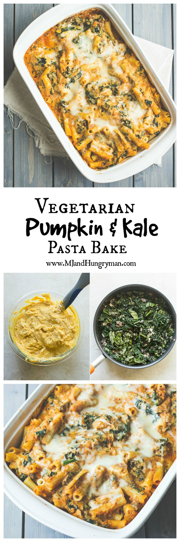 Vegetarian pumpkin and kale pasta bake  **Omitted the mushrooms, added hot Italian sausage, and used vodka sauce instead of marinara