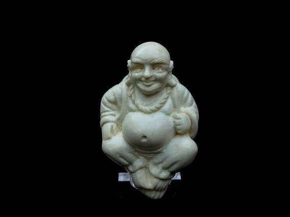Ancient Buddhist Teacher Buddha Block Meerschaum Pipe Bent