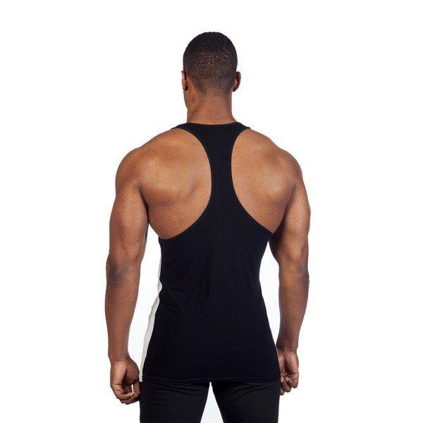 Gyúrós edző trikó férfi feliratos fekete kék back1 www.edzotriko.hu
