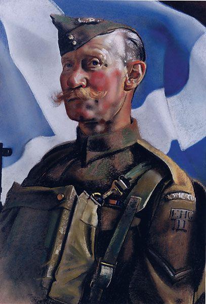 Framed pastel portrait of Lance-Corporal Robertson by Eric Henri Kennington, 1943
