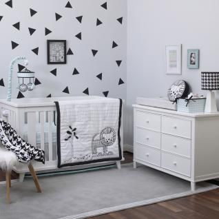 Classic meets modern with the NoJo Roar Black, White, and Aqua Crib Bedding with Lion! This sophisticated collection starts with a double-sided comforter in crisp white with black embroidered patterns, an applique lion, and a black border on one side and a surprising aqua and white hound's-tooth print on the other. Turn the comforter down to reveal a coordinating fitted crib sheet in aqua and white hound's-tooth. A grey and white, chevron-print dust ruffle with aqua fringe drops provides…