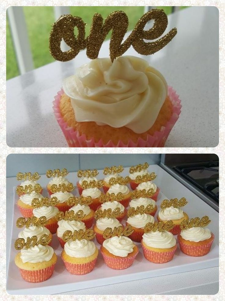 A 1st birthday cake topper for a cupcake... Lots of cupcakes.  Cut from 3mm timber and covered with gold glitter.
