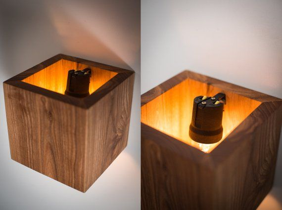 wood lamp Q#326 handmade. wall lamp. wooden lamp. sconce. wall light. minimalist lamp. interior decoration. wood decor. cube. wood sconce