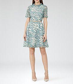 Womens Soft Green Printed Dress - Reiss Somerset