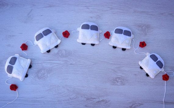 Wedding Campervan Bunting/Garland with Roses  Your by BellaandRoo