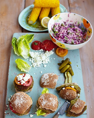 Delicious easy Vegetarian I dont do the corn though as it is just too much happy cow (vegetarian) burgers, old-school coleslaw & corn on the cob - Jamie Oliver 15 min receipe