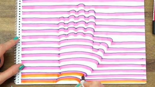 """Dans ce tutoriel intitulé """"3D Handrpint"""" et réalisé par Handimania, on nous apprend à dessiner sa main en 3D sur une feuille blanche. Cette impression de relief 3D  est rendu possible avec de simples courbes dessinées aux feutres. Sympa !"""