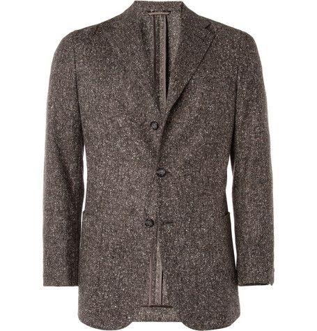 ++ unstructured donegal tweed wool blend blazer
