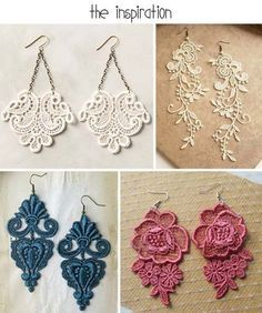DIY Lace Earrings - Cut out a small lace pattern and attach to earring hooks. Simple, elegant, stylish!