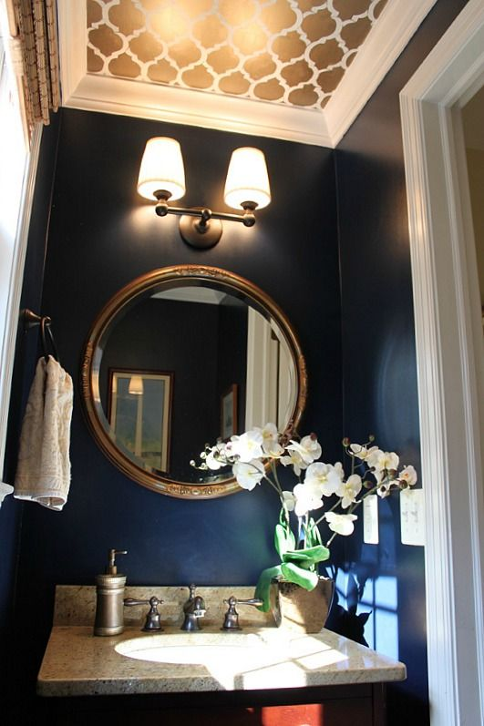 stenciled ceiling and dark navy walls in a tiny powder room