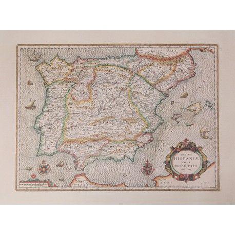 Reproducción de un mapa antiguo de la Península Ibérica