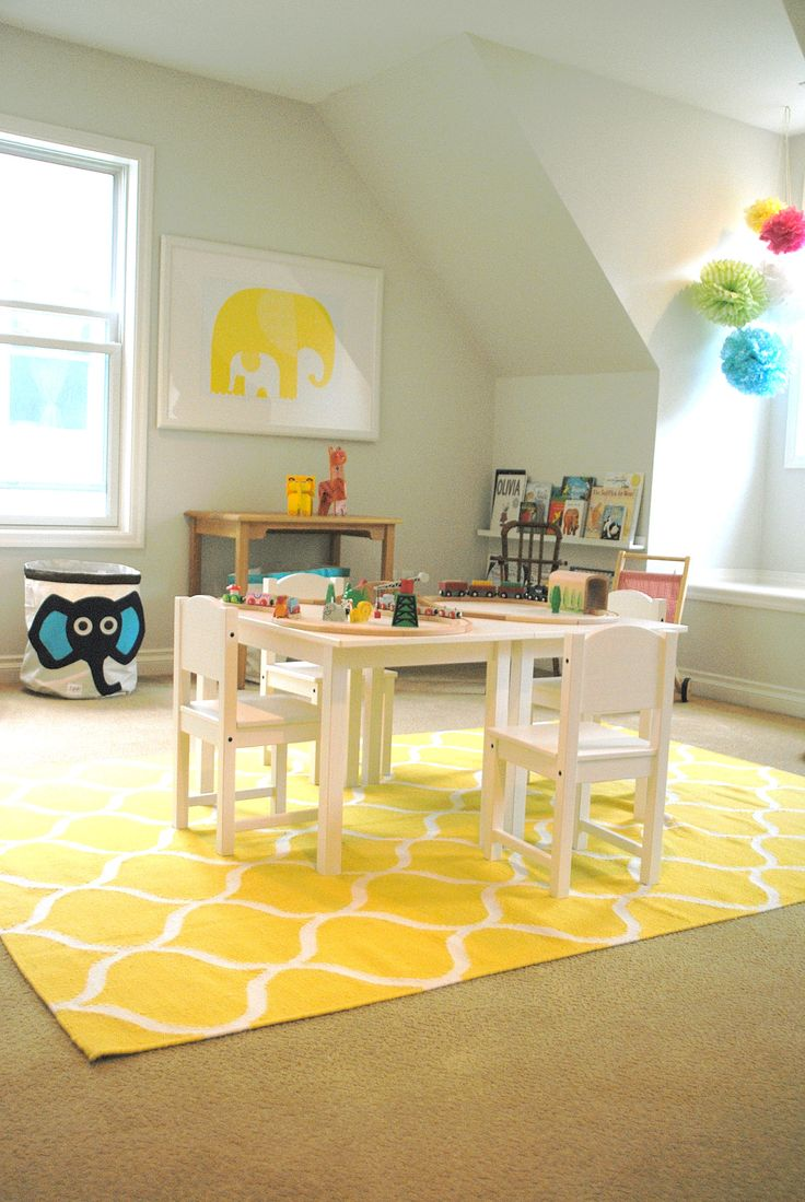 Simple Playroom With Yellow Trellis Pattern Area Rugs Ikea And Kidkraft Nantucket White Table Chair Set