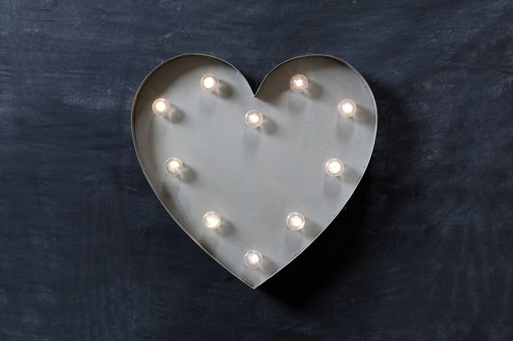 New heart shaped metal zinc finish LED Marquee light. This light takes 2AA batteries making it totally portable & perfect for a wedding or event.