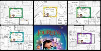 **Save by buying the bundle**These were created to accompany the Journeys reading series. You get the entire Unit 5 which contains 5 stories. Included in this packet:(varies from story to story)For example:spelling practice pagesidentifying spelling wordsword family pagesblend sortingsingular/plural sortingsentence scrambleword searchspelling practice test templatespelling pretest templatepractice spelling test templatespelling test template2 vocabulary test templatesgrammarroll & graphsy...