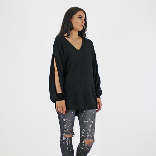 PinkCad Black Ribbed Fine Knit V Neck Split Sleeve Jumper Available Instore And Online www.pinkcadillac.co.uk