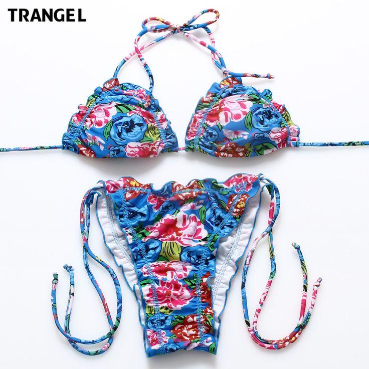 Trangel 2017 New Biquini Printed Swimsuit Women Bathing Suit Floral Print Halter Strapless e maios de Praia Brazilian EG858