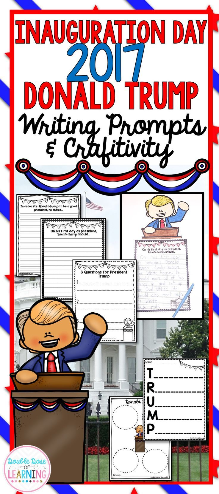 Inauguration Day 2017 will be here soon! Help your students learn about the new president, Donald Trump by organizing their thoughts and responding to multiple writing prompts. In addition, there is an adorable Donald Trump craftivity---they are perfect for hallway displays or bulletin boards! Students will get their creative ideas flowing, and write down their questions for the new president, write about suggestions for his first day in the White House, complete an acrostic poem, and more!