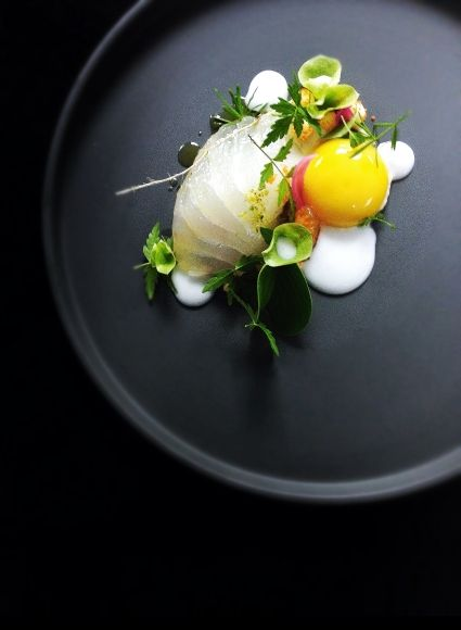 #plating #presentation. perhaps king fish sushi with appropriate accompaniments.