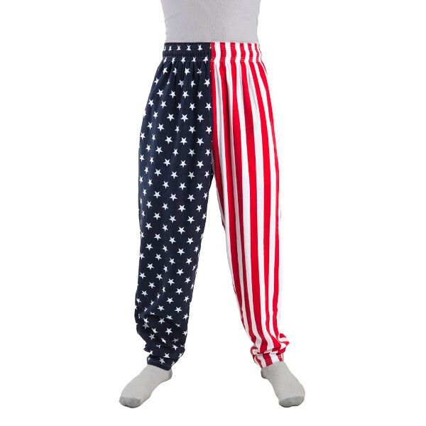 Now you can show off you patriotism with our all new American Flag Pants. These pants features an elastic waist band. - One Pair of American Flag Pants With Pockets - Size: Adult Standard - SKU: CA-02