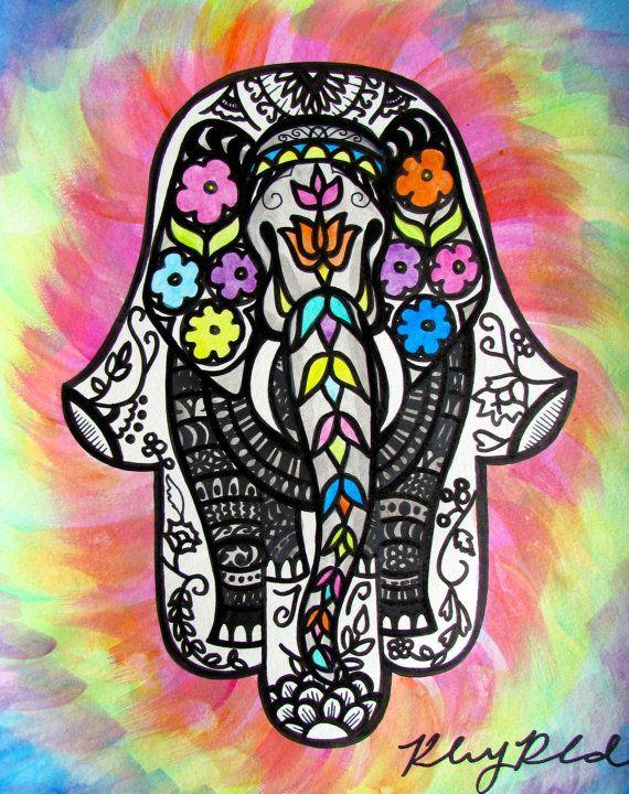 "Colorful Elephant Tie-Dye Hamsa Print- ""Laka Hamsa"" by ..."