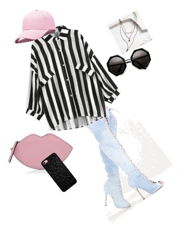 """""""Denim Pop of Pink"""" by taniyalenae on Polyvore featuring moda, Cost Plus World Market y Kendall + Kylie"""